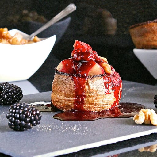 Sweet Yorkshire Puddings with pear, walnut & Blackberry coulis