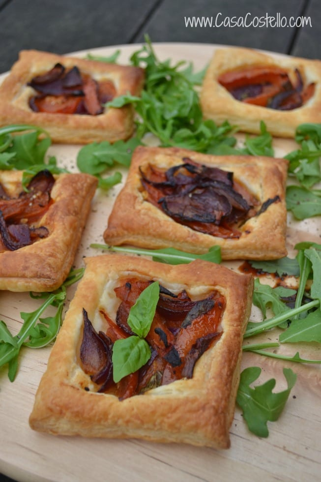 Tomato & Red Onion Puff Pastry Tartlets