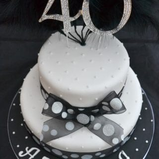 40thn Black White Spotty Bling Cake