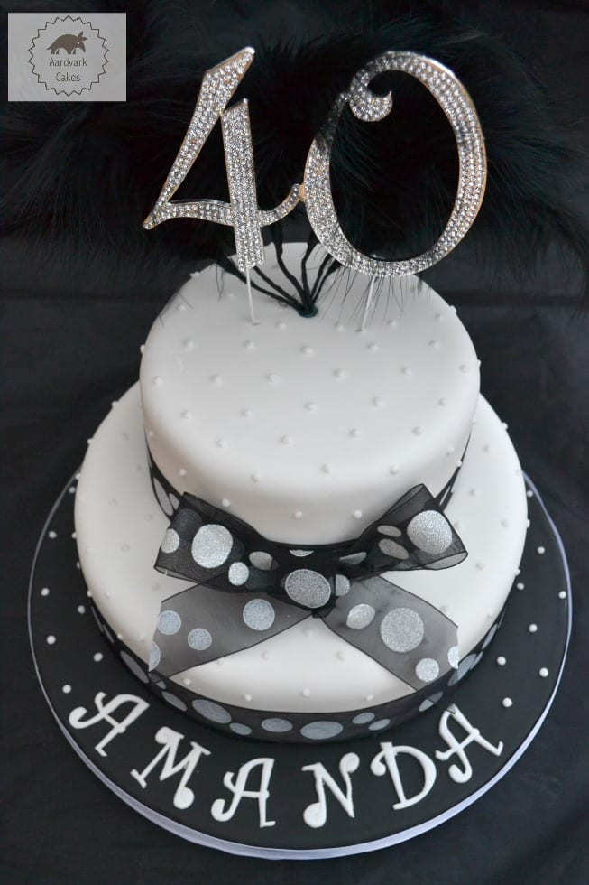 40thn Black White Spotty Bling Cake Happy 40th Birthday
