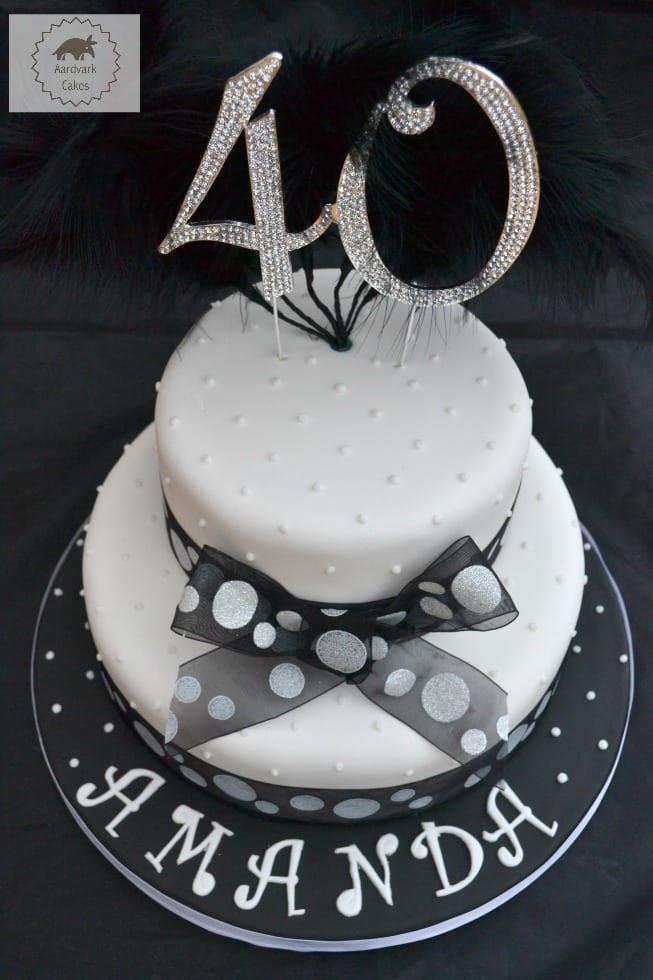 40thn Black White Spotty Bling Cake