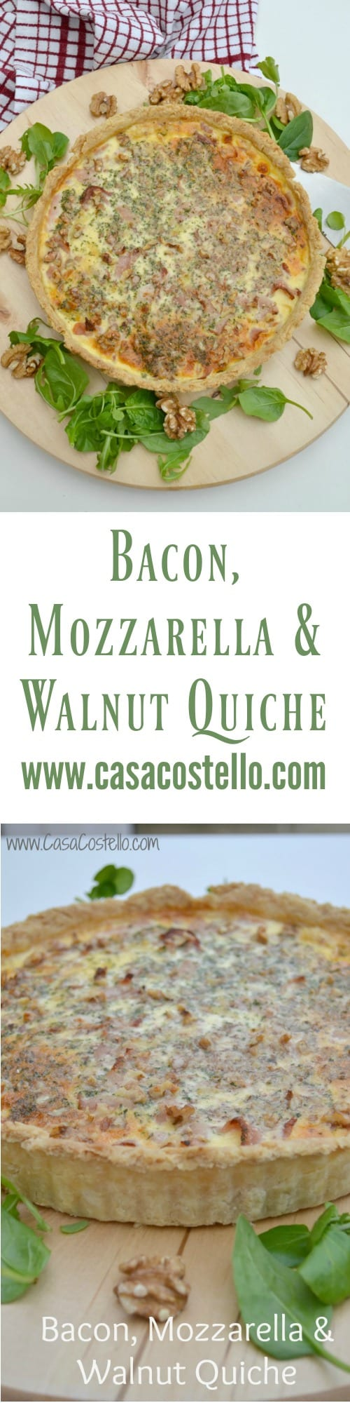 Bacon Mozzarella Walnut Quiche