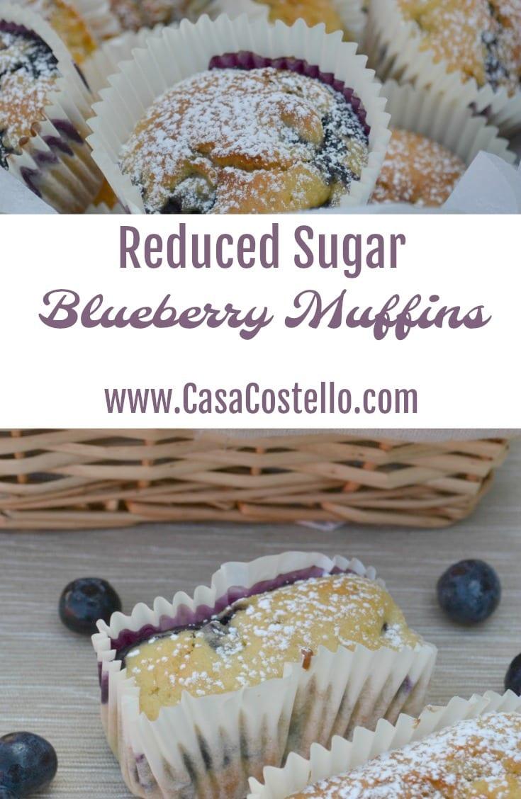 Reduced Sugar Blueberry Muffins