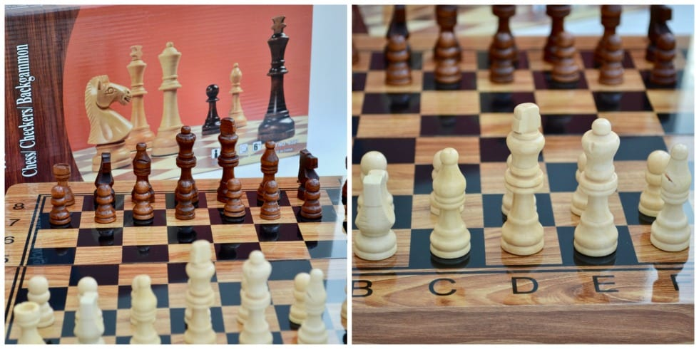 Wooden Chess Draughts Set