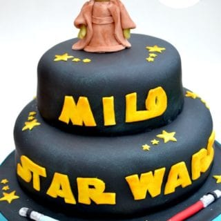 Star Wars Birthday Cake with Yoda Cake Topper