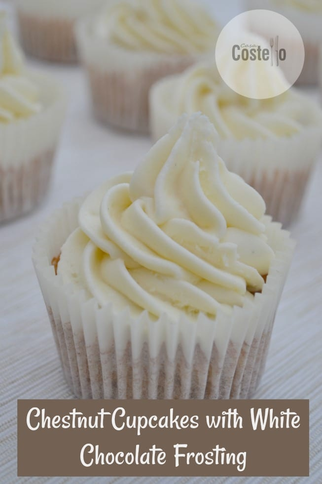 Chestnut Cupcakes with White Chocolate Frosting