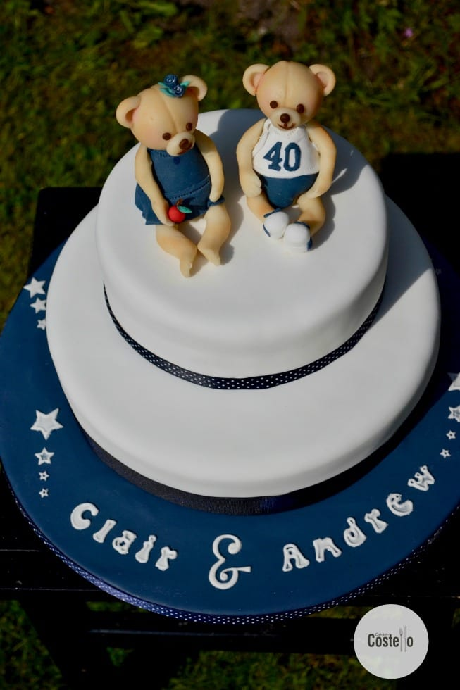 Joint 40th Birthday Cake with Teddy Cake Topper