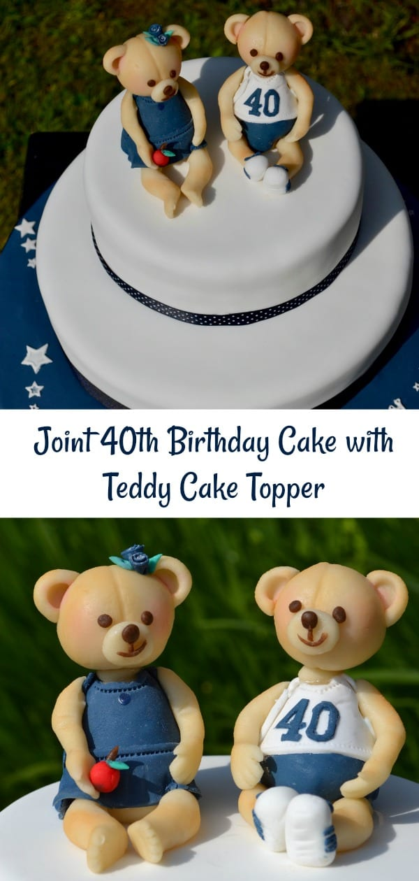 Joint 40th Birthday Cake with Marzipan Teddy Cake Topper