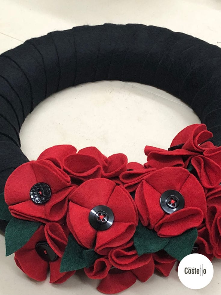 Homemade Felt Poppy Wreath