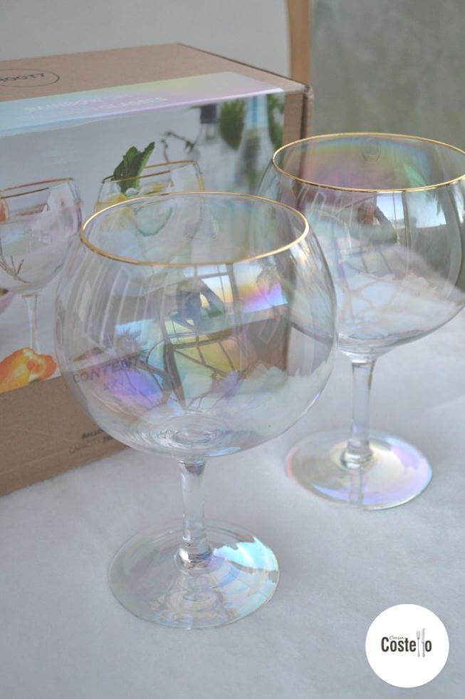 Rainbow Iridescent Gin Balloon Glasses
