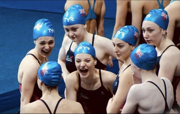 Synchronised Swimmers laughing