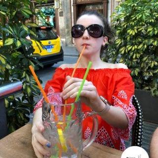Glamorous daughter drinking