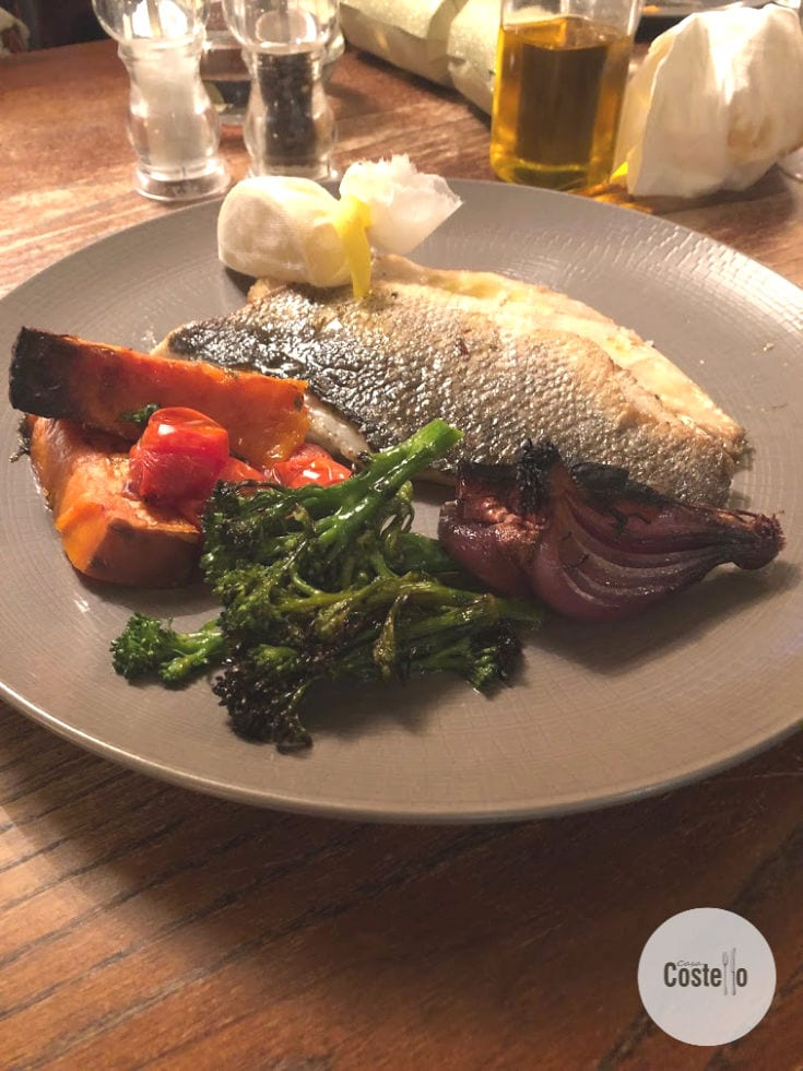 Chargrilled Seabass with chargrilled vegetables