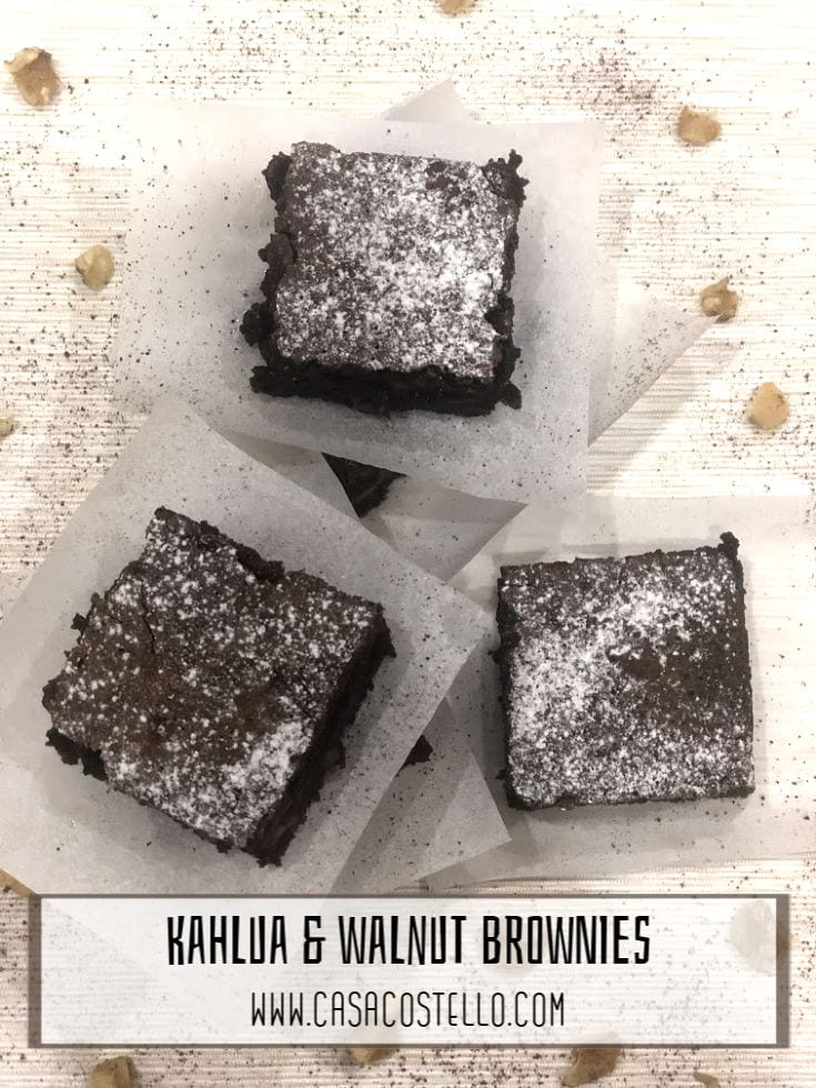 Dense Chocolate Brownies with the taste of Kahlua and crunchy walnuts