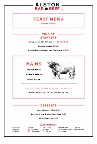 Alston Bar Beef Tasting Menu